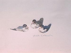 Peinture à l'huile de trois canards