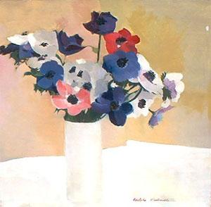 Peinture à l'huile d'anémones roses, bleues, violettes et blanches