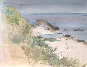 Barque sur la plage de l'ile d'Yeu en aquarelle