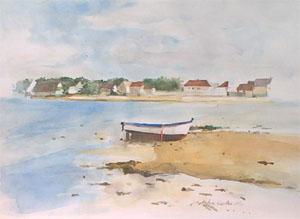 Barque sur un plage bretonne en aquarelle