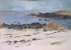 Barque à l'ile d'Yeu en aquarelle