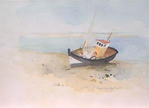 Aquarelle de bateau de peche à Graveline