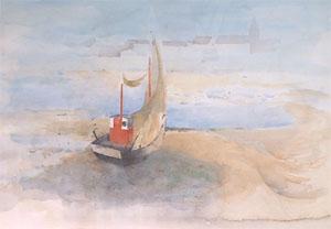Bateau de peche à Grand Fort Philippe en aquarelle