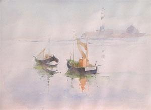 Bateaux à Graveline en aquarelle