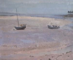 Peinture à l'huile de bateaux à maree basse