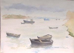 Aquarelle de bateaux à Graveline