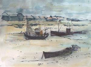 Aquarelle de bateaux de peche à Graveline
