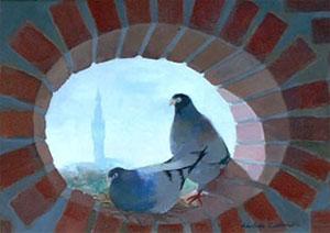 Huile sur bois d'un beffroi et de deux pigeons