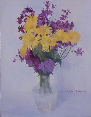 Peinture dun bouquet de fleurs jaunes et violettes