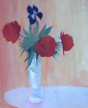 Peinture à l'huile d'un bouquet de fleurs rouges et bleues