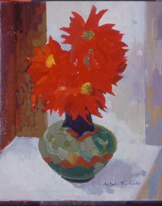 Peinture d'un bouquet de fleurs rouges
