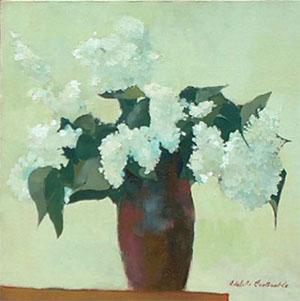 Peinture à l'huile d'un bouquet de lilas blancs