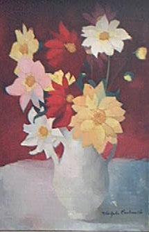 Peinture à l'huile d'un bouquet de fleurs jaunes, rouges, roses et blanches