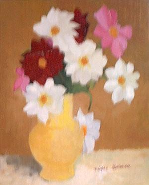 Peinture à l'huile d'un bouquet de fleurs rouges, roses et blanches