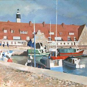 Peinture à l'huile du port de Calais