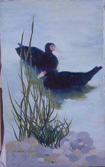 Peinture à l'huile de deux canards