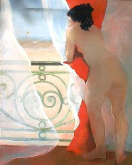 Huile sur toile d'une femme nues qui regarde un cerf volant sur la plage depuis son balcon en se cachant derrière des rideaux