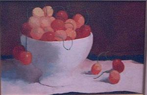 Peinture à l'huile de cerises