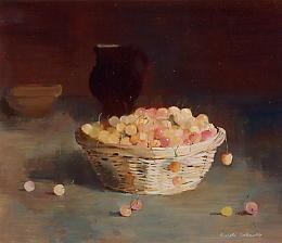 Peinture à l'huile d'un panier de cerises