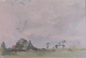 Chaumière en flandre en aquarelle