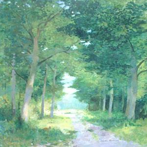 Peinture à l'huile du chemin forestier de Clairmarais