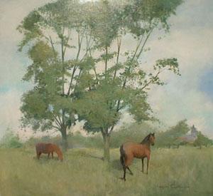 Huile sur bois de chevaux