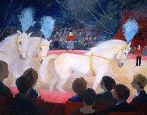 Huile sur toile de chevaux de cirque