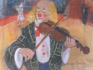 Dessin pastel d'un clown violoniste