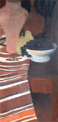 Peinture à l'huile d'une cruche et de fruits posés sur un coin de table