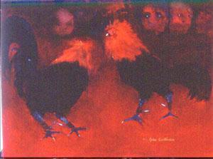 Peinture à l'huile d'un combat de coqs