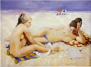 Huile sur toile de deux jeunes femmes qui discutent sur la plage