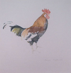 Un coq en aquarelle