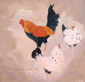 Huile sur bois d'un coq et de deux poules