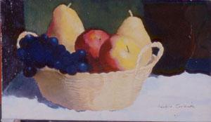 Peinture à l'huile d'une corbeille de fruit