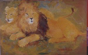 Peinture à l'huile d'un couple de lions