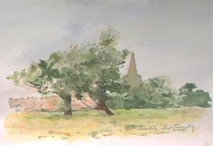 Eglise de Bollezeele en aquarelle