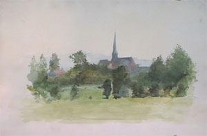 Eglise de Wemaers Cappel en aquarelle