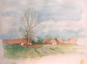 Village flamand en aquarelle