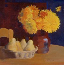 Peinture à l'huile de fruits et fleurs