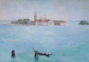 Huile sur toile d'une gondole sur le grand canal autour de l'ile San Giorgio à Venise