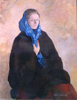 Huile sur toile du portrait d'une femme