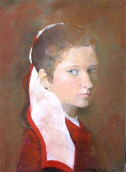 Huile sur toile d'une jeune femme de 20 ans