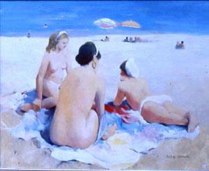 Huile sur toile de trois jeunes femmes sur une plage