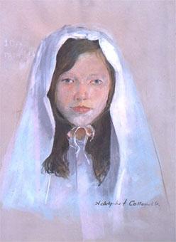 Dessin pastel du portrait d'une fille lors de sa communion