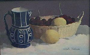 Peinture à l'huile  d'une cruche et de fruits