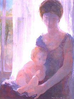 Huile sur toile d'une mère de de son enfant