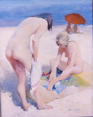 Huile sur toile de deux jeunes femmes sur la plage qui viennent d'aller se baigner