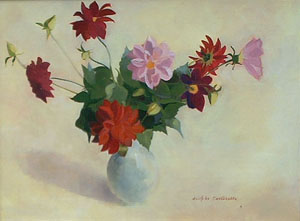 Peinture à l'huile d'un bouquet de fines fleurs roses et rouges