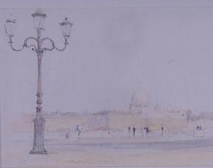 Le Dome de Saint-Pierre à Rome en aquarelle