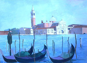 Huile sur toile du grand canal autor de l'ile se San Giorgio